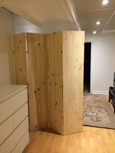 Room divider - created to separate basement bedroom space from the sitting area. Inexpensive wood panels from HomeDepot connected by hinges. Securely fastened to the wall. Thank you to my boyfriend for taking my idea and making it way better then I could have imagined. It even closes.