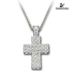 Swarovski Clear Crystal CROCE Cross Pendant Necklace Rhodium Plated Size:40cm/ 1.5 x 2.5cm #5072137 New in original box