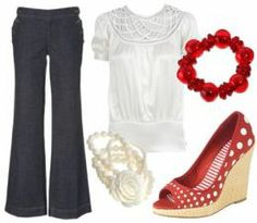 cuff bracelet, statement necklace, white blouse, sandals, bootcut blue jeans. (minus the espadrilles)