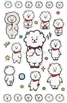 'RJ by myoneandonly Pop Stickers, Printable Stickers, Bts Chibi, Bts Drawings, Kawaii Drawings, Kpop Diy, Doodle Tattoo, Line Friends, Aesthetic Stickers