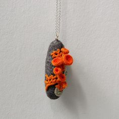 Faux lichen and felt stone necklace by elinart on Etsy