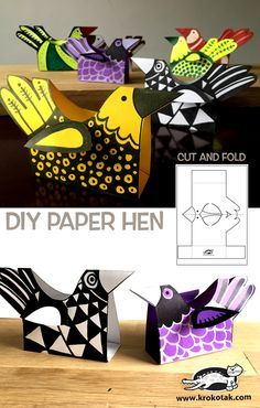Make a DIY paper her with a printable template. Super cute craft for kids! Projects For Kids, Diy For Kids, Crafts For Kids, Diy Crafts, Papier Diy, Chicken Crafts, Diy Tumblr, Paper Birds, Kirigami