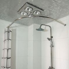 rod new ceiling track support bathrooms shower rods curtain custom stalls for corner curved interior small without