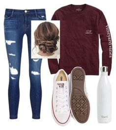 """Untitled #62"" by oliviakhove on Polyvore featuring Vineyard Vines, J Brand, Converse and S'well"