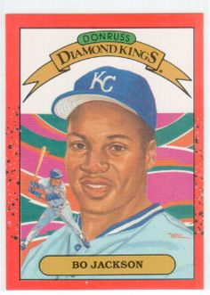 1990 Donruss Bo Jackson Baseball Card #1. Maunfactured in the USA by Leaf, INC in 1989. Card is in good Condition Buy Now - http://buymysportscards.com/baseball-cards/1990-donruss-bo-jackson-diamond-kings-baseball-card/