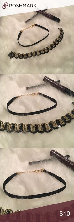 Set of chokers NWOT. Gold and black set of chokers Jewelry Necklaces