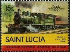 Stamp: Heavy L, 1885, India (Saint Lucia) (Locomotives) Mi:LC 715,Sn:LC 712b,Yt:LC 707