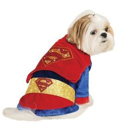 Deluxe Superman Dog Costume I'm dressed to fight for truth, and justice, and the American way. Contains Shirt with belt, cape with rhinestone Superman logo. Special Features Dog costume with rhinestone detail. Superman Halloween Costume, Superman Costumes, Pet Halloween Costumes, Halloween Snacks, Halloween Cupcakes, Dog Halloween, Pet Costumes, Vintage Halloween, Halloween Witches