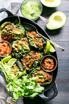Roasted Stuffed Poblanos with Smoky Quinoa, Sweet Potatoes and Black Beans Stuffed Poblanos, Stuffed Poblano Peppers, Poblano Recipes, Vegetarian Stuffed Peppers, Vegan Mexican Recipes, Vegetarian Recipes, Healty Dinner, Guacamole Recipe, Cooking Black Beans