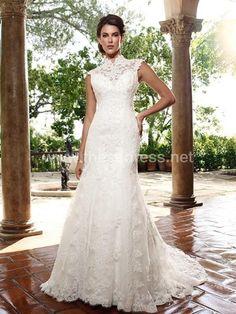 Trumpet/Mermaid High Neck Lace Chapel Train Wedding Dress