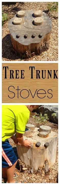Use a stump to make a tree trunk stove for a mud kitchen! Great for imaginative preschool outdoor play. Outdoor Learning Spaces, Outdoor Play Areas, Outdoor Fun, Outdoor Education, Outdoor Playground, Playground Ideas, Children Playground, Outdoor Classroom, Business For Kids
