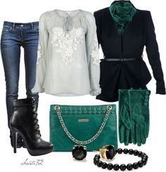 """""""Teal Scarf"""" by christa72 ❤ liked on Polyvore"""