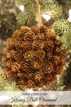 Create a simple and beautiful mini pine cone kissing ball ornament. A perfect gift idea via Uncommon Designs. #floracraft #makeitfuncrafts #chirstmasornament