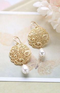 Matte Gold Filigree Earrings Swarovski Cream Teardrop