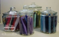 Ribbon storage with popsicle sticks