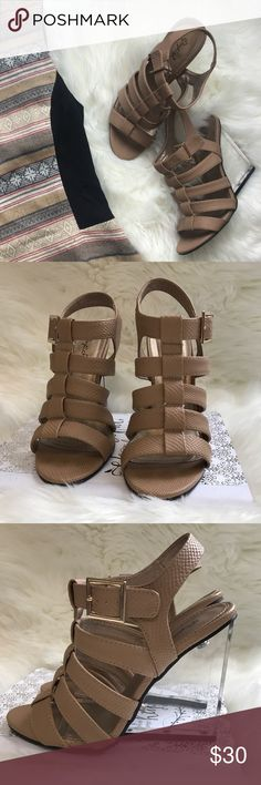 Strappy Nude Sandal Heel Clear platform chunky wedge heel. Caged gladiator sandal. Adjustable ankle strap. Qupid Shoes Wedges