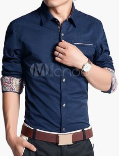Button-up Long Sleeve Shirt with Floral Lining - Milanoo.com