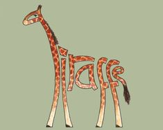 Finally starting to develop something I started back in school [link] Ink outlines, coloured pencils and digital plain background (because the scanned w. Word Drawings, Giraffe Pictures, 7th Grade Art, Giraffe Art, Typographic Logo, Logo Design, Graphic Design, Lettering, Typography Drawing