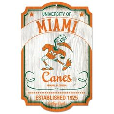 Miami Hurricanes Wood sign-College Vault, Sebastion the Ibis! On Sale Now! Available @ www.CanesWear.com for all of your #MiamiHurricanes #fangear needs! #CanesWear #collegefootball #Miami #theresonlyoneU #Canesfootball #MiamiFanwear #itsallabouttheU #collegegameday #mancave #fancave #Miamifan