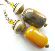 Honey Agathe Dangle earrings Yellow Brown Agathe by BalticSummer