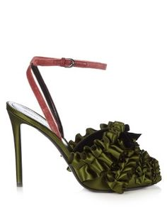 Ruffled satin high-heel sandals | Marco De Vincenzo | MATCHESFASHION.COM US