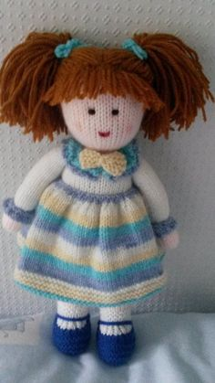 knitted dolls Hand knitted doll by DreamDollies on Etsy Baby Knitting Patterns, Knitted Doll Patterns, Knitted Dolls, Knitting Stitches, Crochet Dolls, Hand Knitting, Knitted Animals, Knit Or Crochet, Amigurumi Doll
