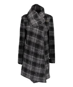 Look at this Black & Gray Plaid Wool-Blend Coat on #zulily today!