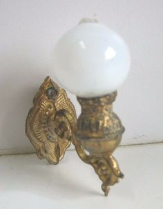Antique German Miniature Doll House Gilt painted pewter small wall lamp sconce.