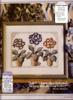 I love those flowers in pots Cross Stitch Collection, Cross Stitch Flowers, Needle And Thread, Cross Stitch Embroidery, Cross Stitches, My Flower, Hobbit, Planting Flowers, Decorative Boxes