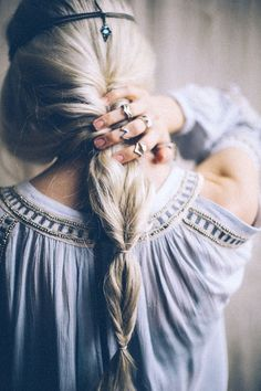 Low Fishtail Braid with Head Band nice boho hairstyle 2015 summer