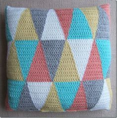 Instructions for making patchwork pillow, including tutorial on making crocheted triangles.