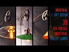 30 DIY Vintage Industrial Pulley Lamp Pulley lights have been around since the mid where they were most commonly used to light tables in the kitchen area, cafe's and bistros. Vintage Oil Cans, Vintage Lamps, Vintage Industrial, Pulley Light, Geometric Lamp, Loft Design, Modern Design, Steampunk Lamp, Diy Chandelier