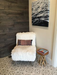 Master bathroom #encaustictile #arcturusstudio #woodcladwall Studio Interior, Interior Design, Encaustic Tile, Master Bathroom, Shag Rug, Couch, Rugs, Wall, Furniture