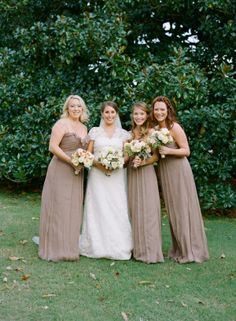 Floor Length Taupe Bridesmaids Dresses | photography by http://www.aliharperphotography.com/