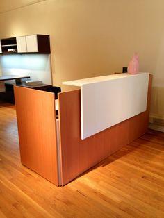 VG Fir #Reception #Desk with #aluminum corner #accents