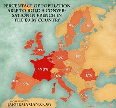 Map of the percentage of population able to speak French in the EU by country, from JakubMarian.com. Data self-reported and as of 2012.