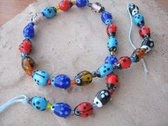 Lady bug Murano glass beads 16 inch strand by beaderbeads on Etsy