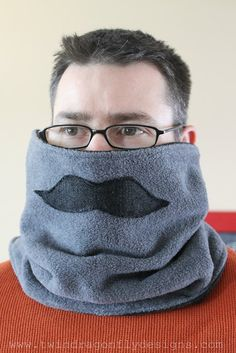 neck warmer with a moustache