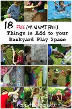 "18 free things to add to a backyard play space ideas games Bucket and Rope ""Pulley"" for Kids - Happy Hooligans Kids Outdoor Play, Outdoor Learning, Outdoor Games, Outdoor Fun, Outdoor Activities, Activities For Kids, Outdoor Ideas, Water Activities, Outdoor Parties"