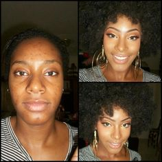 Before and After of a client-the power of makeup