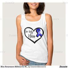 Blue Awareness Ribbon For My Hero Basic Tank Top