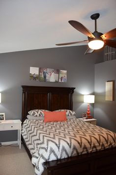 {Jessica Stout Design}: Coral + Gray Master Bedroom {My Home} I