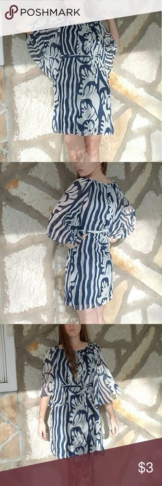 Tied shift dress Blue abstract print shift dress with butterfly sleeves and a tied belt. Madison Paige Dresses