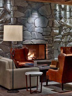 Lobby at The Alpina Gstaad, Switzerland, interior designed by HBA/Hirsch Bedner Associates