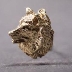 Norwegian Elkhound gold-plated PENDANT head
