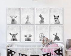 Acht Baby Animal-Prints Wald Kindergarten Kunst Mädchen Kinderzimmer Zimmer Dekor Tierportraits Tierfotografie Kinderzimmer Kinder Zimmer Kunstdrucke