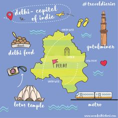 12 places that I have been to (Illustration) 10 Delhi Map, Delhi India, Travel Maps, Travel Posters, Places To Travel, India Map, India India, Travel Sketchbook, Art Sketchbook