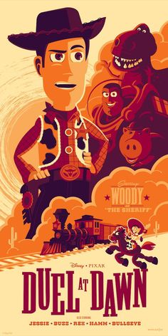 Cyclops Print Works Print Duel at Dawn (Toy Story E.- Cyclops Print Works Print Duel at Dawn (Toy Story Evil Dr. Porkchop Variant by Tom Whalen - Vintage Disney Posters, Retro Disney, Vintage Cartoons, Disney Movie Posters, Cartoon Posters, Vintage Movies, Vintage Disney Art, Vintage Art, Disney Pixar