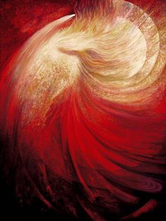 """Daily Angel Oracle Card: Sacred Phoenix Heart, from the RUMI Oracle Card deck, by Alana Fairchild, artwork by Rassouli Sacred Phoenix Heart: """"Under the cover of blood, love veils many rose ga… Art Prophétique, Art Visionnaire, Whirling Dervish, Prophetic Art, Into The Fire, Goddess Art, Beltane, Visionary Art, Oracle Cards"""