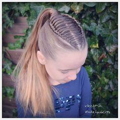 Dutch braids/feathered braid into ponytail, a hairstyle inspired by @thisisbabe